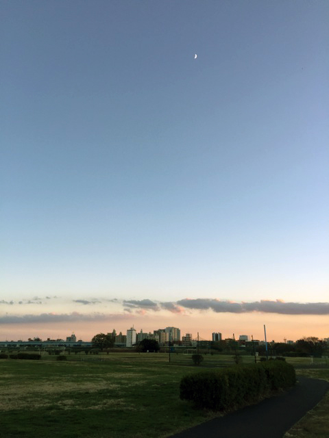 たそがれ迫る空の色と細く白い月。