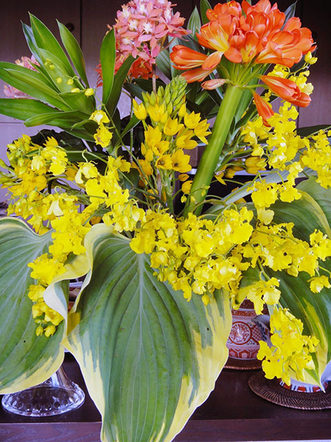 一緒にお食事をした(株)編輯舎の三宅暁さんと世界文化社の一力絢さんから NHK-FM「音楽遊覧飛行~食と音楽でめぐる地球の旅」お疲れさんの 美しい花束をいただきました。 まさに、南イタリアに咲き誇る花々のよう。